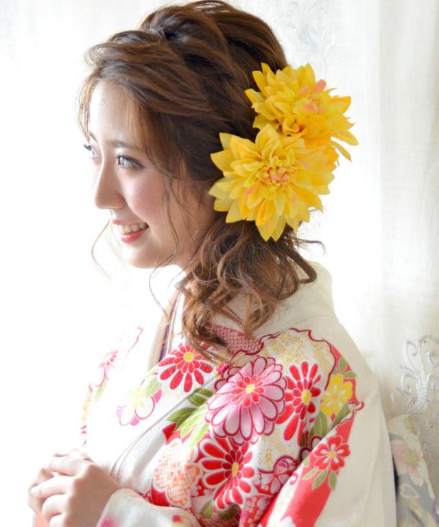 成人式・和装用髪飾り【シルクフラワー】ダリア1輪 全3色