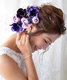 ヘッドドレス 紫のアネモネ