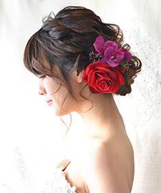 ヘッドドレス ベルベットローズと胡蝶蘭