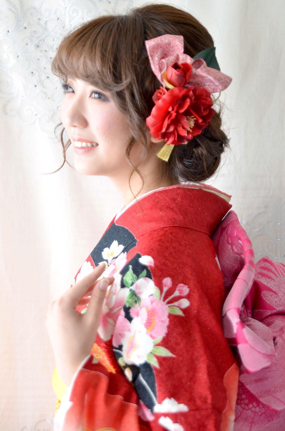 ヘッドドレス成人式 髪飾り【紅椿べにつばき】小春シリーズ