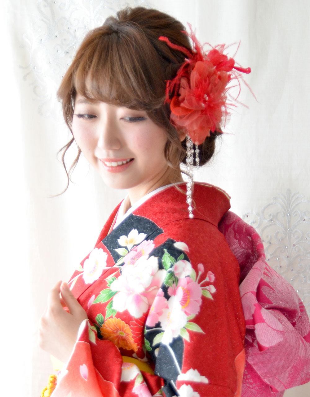 成人式 髪飾り 朱(しゅ)