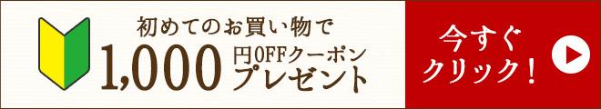 初めてのお買い物で1,000円OFFクーポンプレゼント!