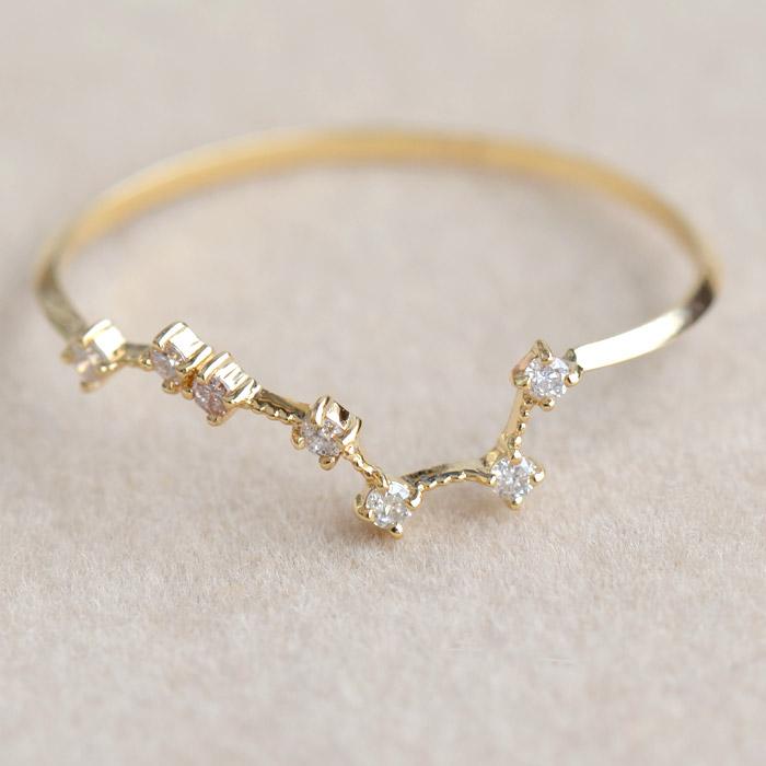 リング 指輪 ダイヤモンド 0.05ct 北斗七星 レディース 18金 18k K18 北斗 北斗星 七つの星