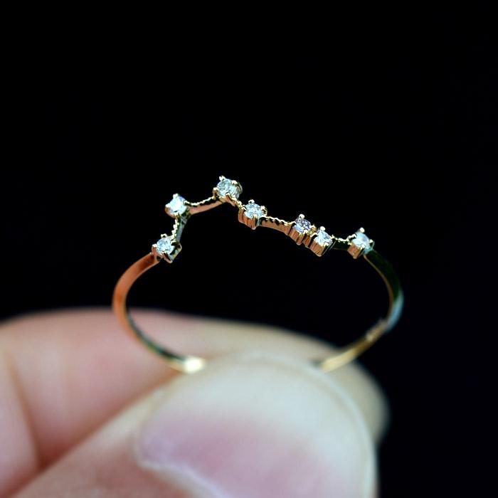 リング ダイヤモンド 指輪 0.05ct 北斗七星 レディース 18金 18k K18 北斗 北斗星 七つの星