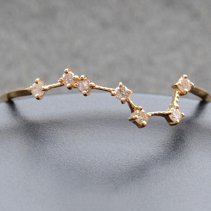 リング ダイヤモンド 0.05ct 北斗七星 指輪 レディース 18金 18k K18 北斗 北斗星 七つの星