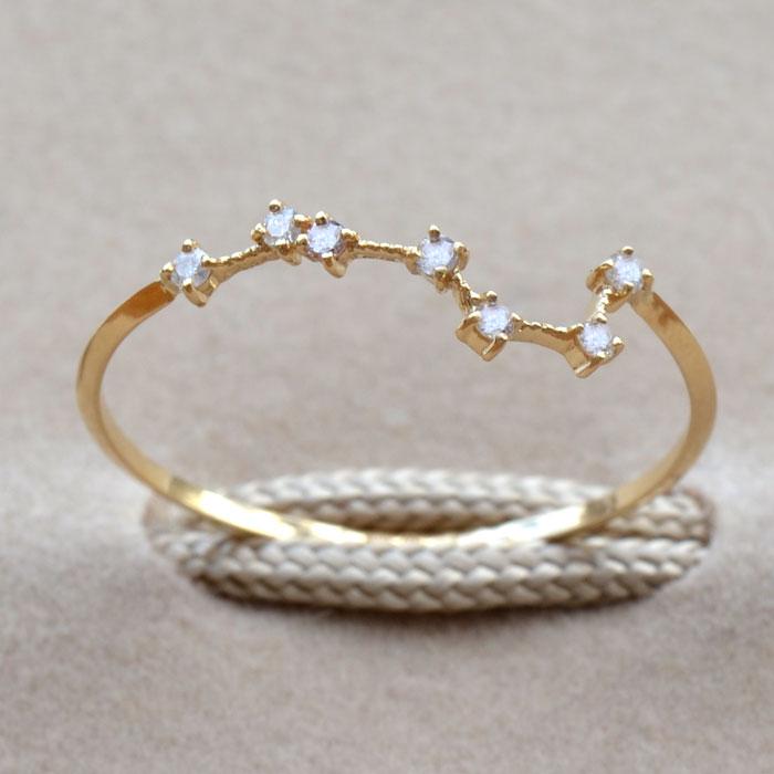 リング ダイヤモンド 0.05ct 指輪 北斗七星 レディース 18金 18k K18 北斗 北斗星 七つの星