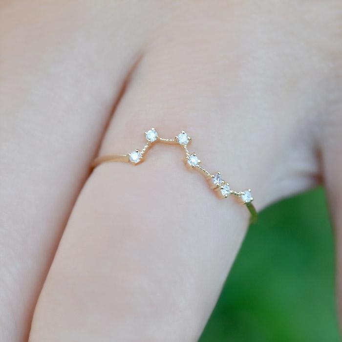 リング ダイヤモンド 0.05ct 北斗七星 18金 K18 北斗 北斗星 七つの星