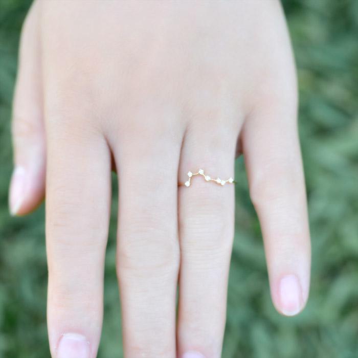 リング ダイヤモンド 0.05ct 指輪  レディース 18金 18k K18 北斗 北斗星 七つの星