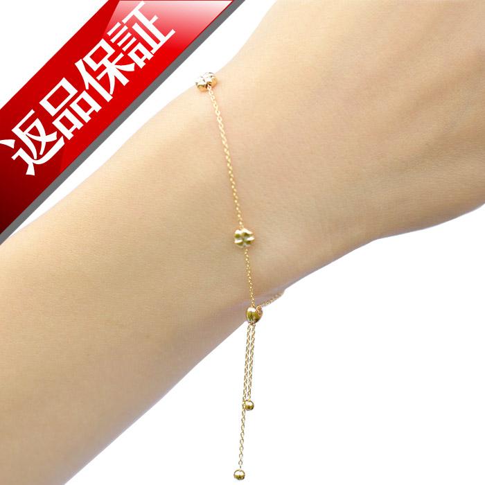 ブレスレット K18 日本製 ハート クローバー よつば ダイヤモンド 18金 18k