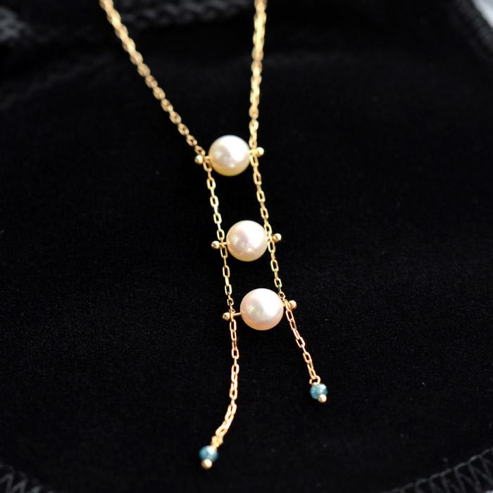 日本製あこや真珠ネックレス18金パール18kブルーダイヤモンド送料無料