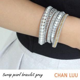 CHAN LUU SPECIAL PEARL GREY 5連 ラップ レザーブレス