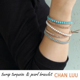 CHAN LUU SPECIAL ターコイズ 5連 ラップ レザーブレス