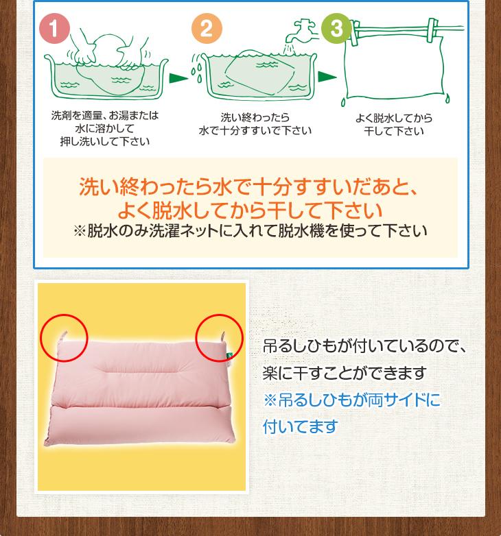 「ストレートネックわた枕」の洗い方 洗い終わったら水で十分すすいだあと、よく脱水してから干してください