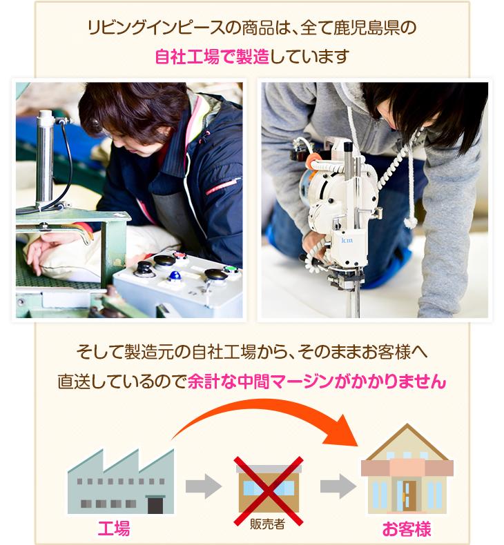 リビングインピースの商品は、全て鹿児島県の自社工場で製造しています