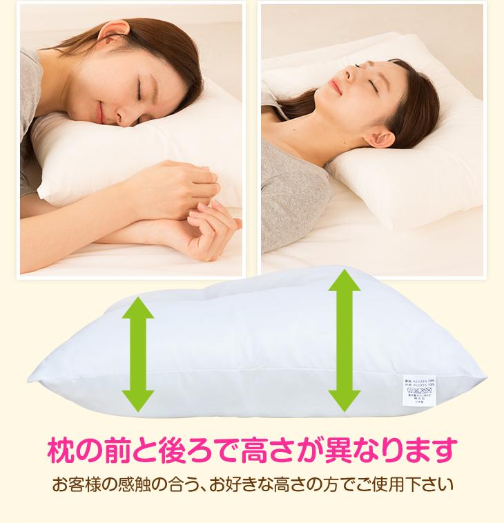 枕の前と後ろで高さが異なります お客様の感触の合う、お好きな高さの方でご利用下さい