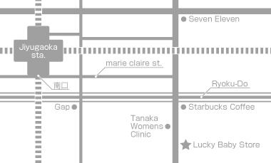 抱っこひもが試着できるラッキーベイビーストアの外観までの地図