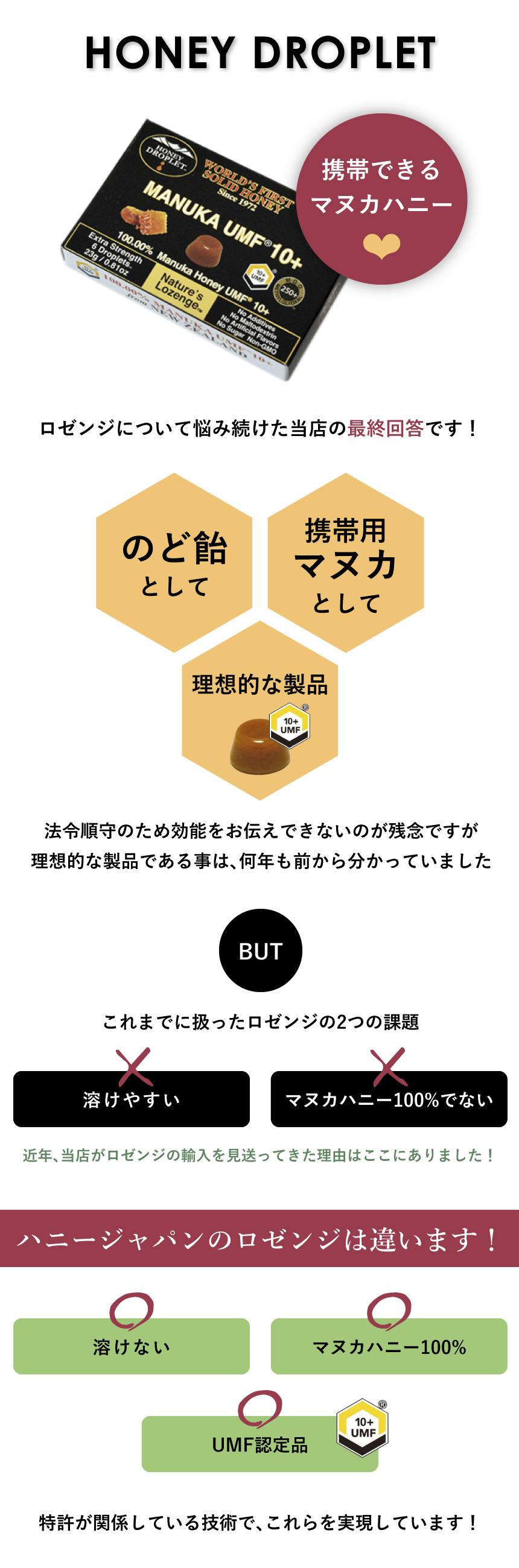 マヌカハニー100%  ハニードロップレットUMF10+ ロゼンジ