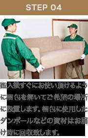 搬入後すぐにお使い頂けるように梱包を解いてご希望の場所に設置します。梱包に使用したダンボールなどの資材はお届け時に回収致します。