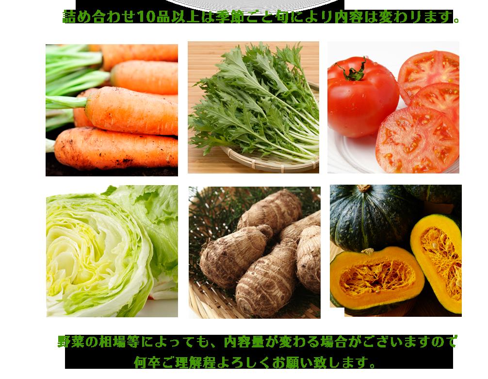 野菜の相場等によっても、内容量が変わる場合がございますので何卒ご理解程よろしくお願い致します。