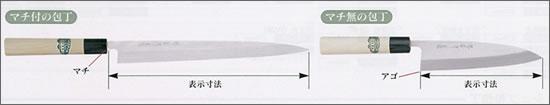 和包丁の寸法表示について