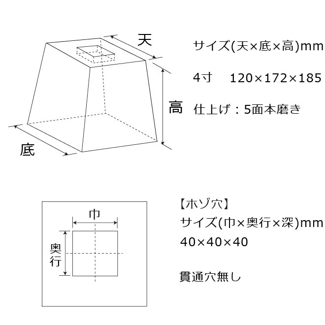 束石沓石603角型標準型本磨き仕上げ図面
