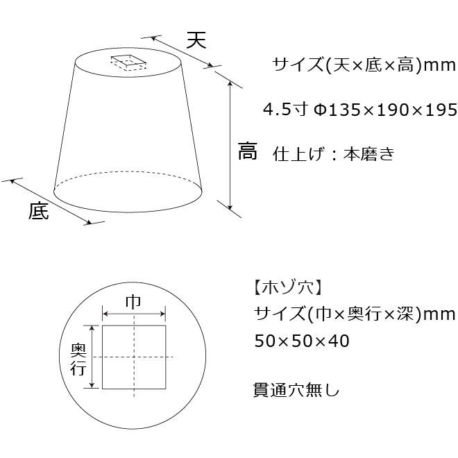 束石沓石ほうちん山西黒丸型標準型本磨き仕上げ図面
