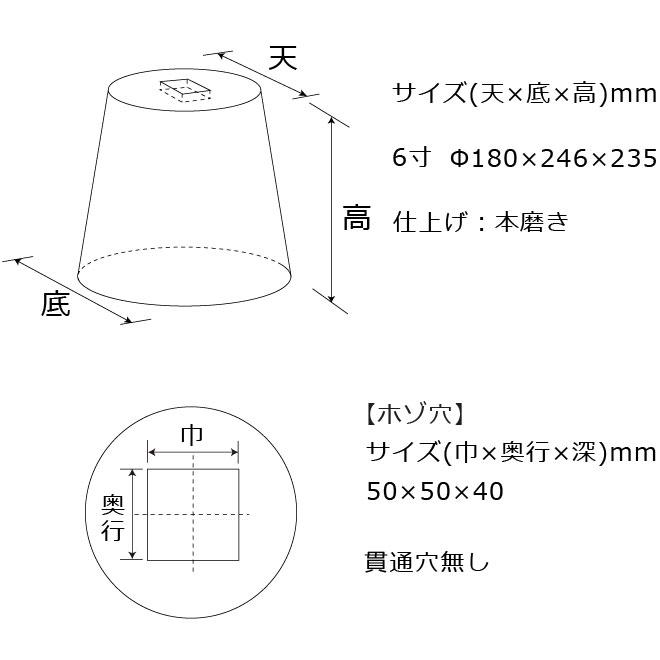 束石沓石603丸型標準型本磨き仕上げ図面