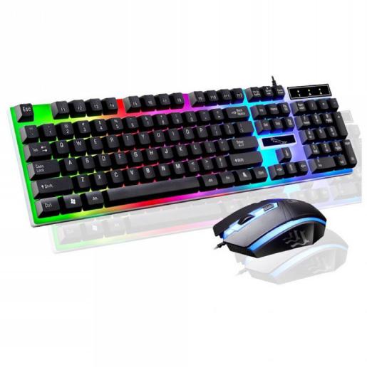 ゲーミング キーボード マウス 一式 セット Gタイプ ブラック 黒 USB有線 レインボー LED 耐用性構造 ゲーム プログラミング 送料無料