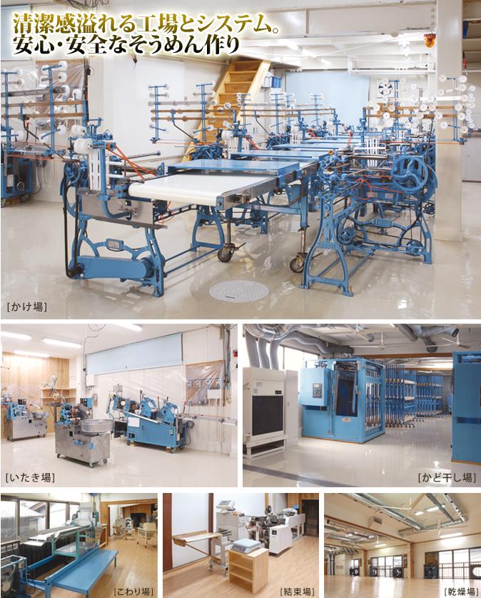 清潔感溢れる工場とシステム。安心・安全なそうめん作り