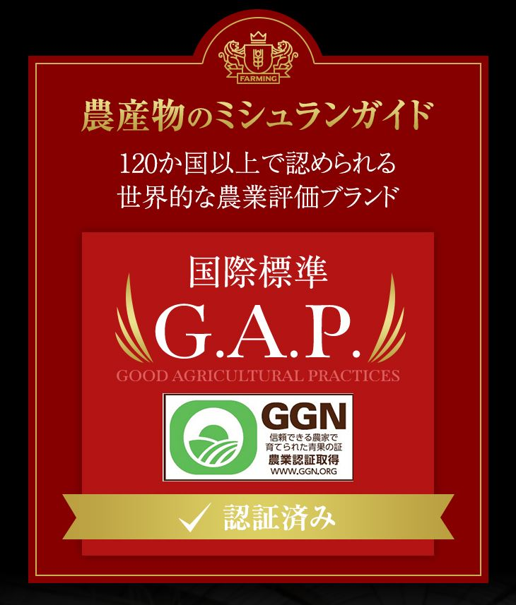 農産物のミシュランガイド 国際標準GAP認証済み