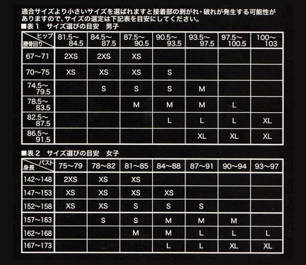 ミズノGX-SONIC3競泳水着サイズ表