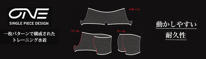 アリーナ男性用タフスーツ/ONEタイプ。1枚パターンで構成されたトレーニング水着。