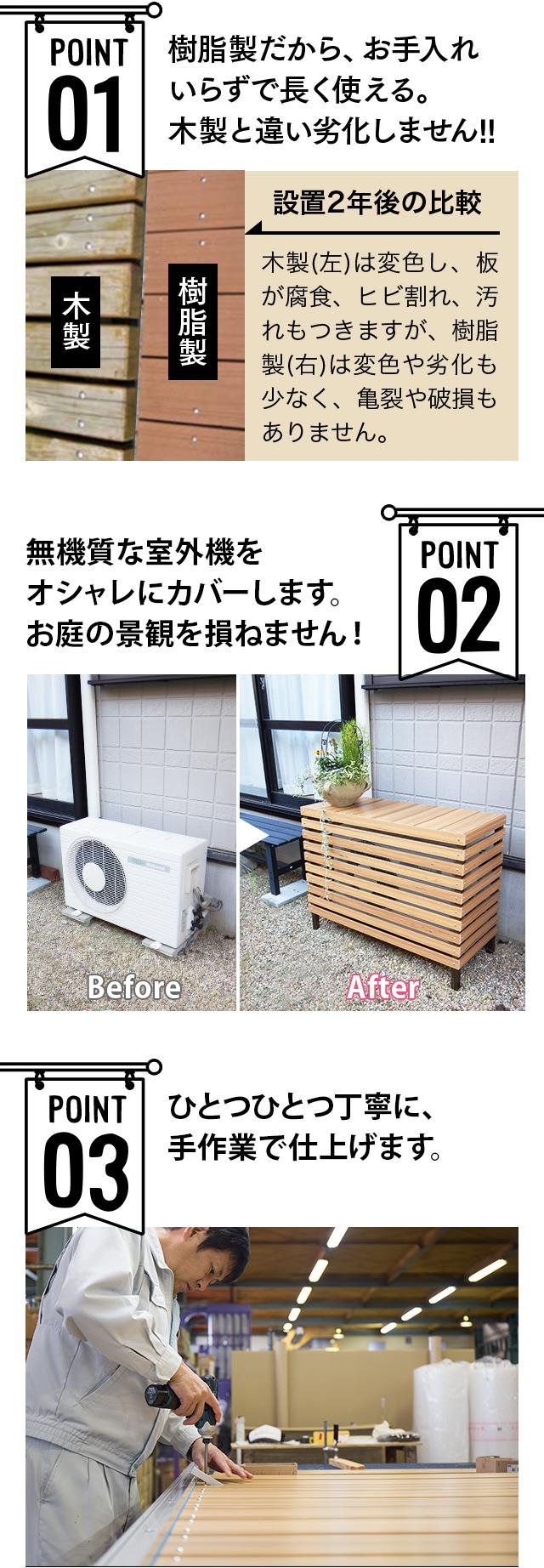 人工木室外機カバー2