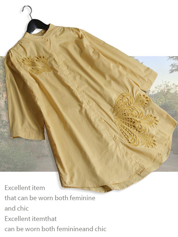 ボタニカル刺繍が華やかなコットンシャツチュニック