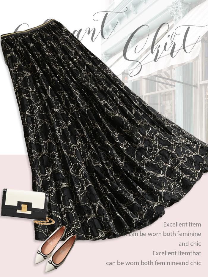 ゴールドラメ刺繍が華やかなレースプリーツスカート