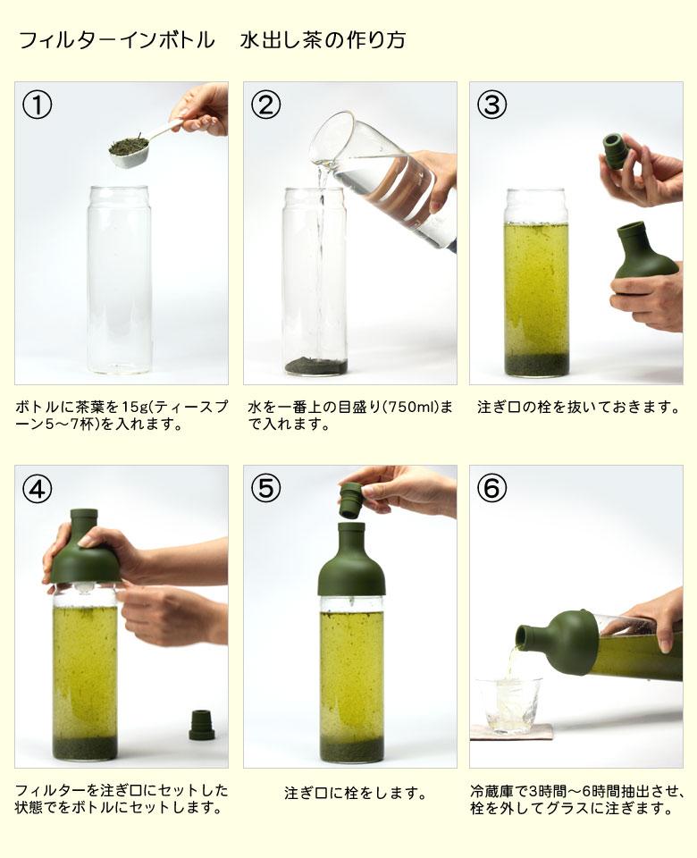 使い方 フィルターインボトル 水出し茶の作り方