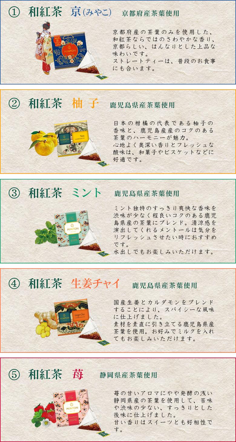ミントン 和紅茶 5種類 説明