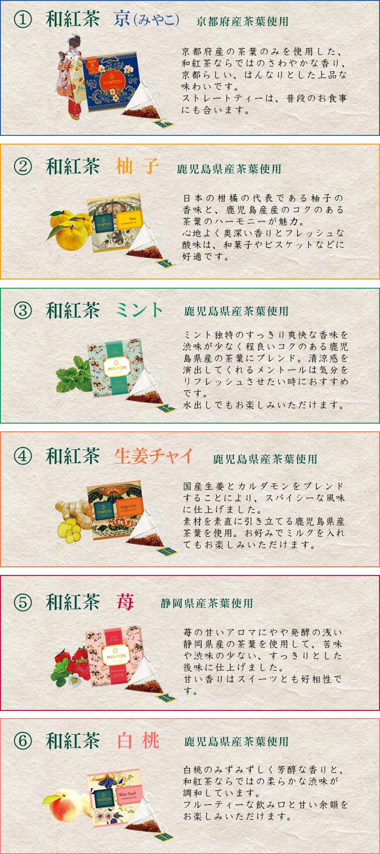 ミントン 和紅茶 6種類 説明