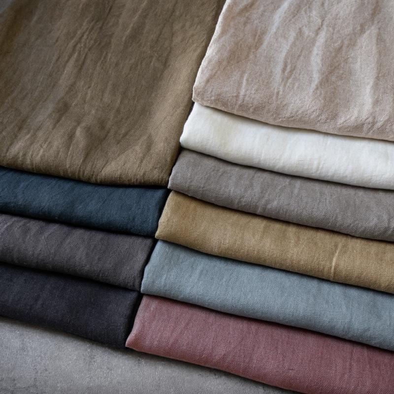 洗いこまれた綾織りベルギーリネン1/60番手