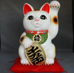8号小判手長招き猫白  元祖招き猫