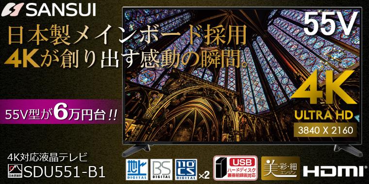 SANSUI/サンスイ SDU551-B1 55V型LED液晶テレビ 【4K対応】
