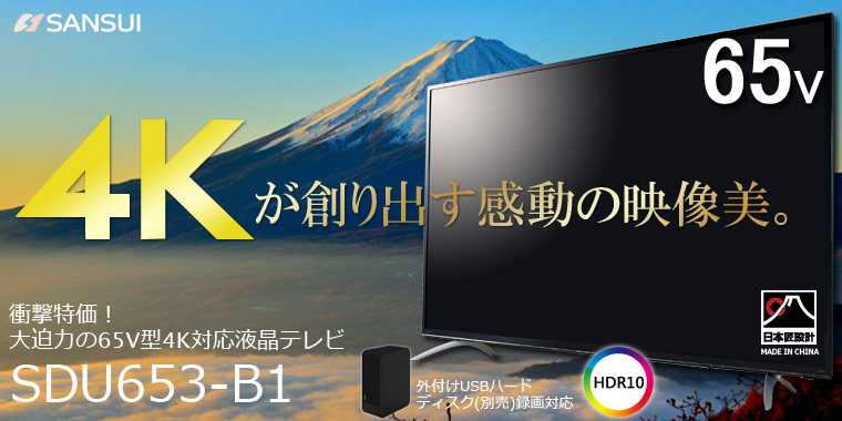 臨場感あふれる4K映像を大画面で!65V型4K液晶テレビ!!