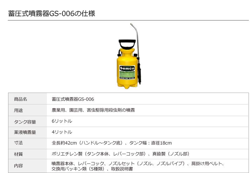 噴霧器GS-006の仕様