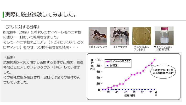 アリに対する効果 試験結果