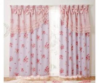 【送料無料】ローズリボン遮光カーテンF 巾100cm×丈178cm※2枚組