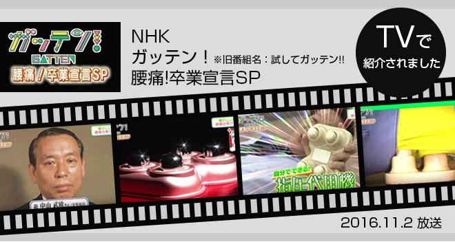 NHKガッテンで快癒器が取り上げられました。