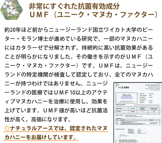 非常にすぐれた抗菌有効成分UMF(ユニーク・マヌカ・ファクター)
