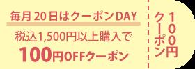 毎月20日 100円OFFクーポン