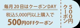 毎月20日 500円OFFクーポン