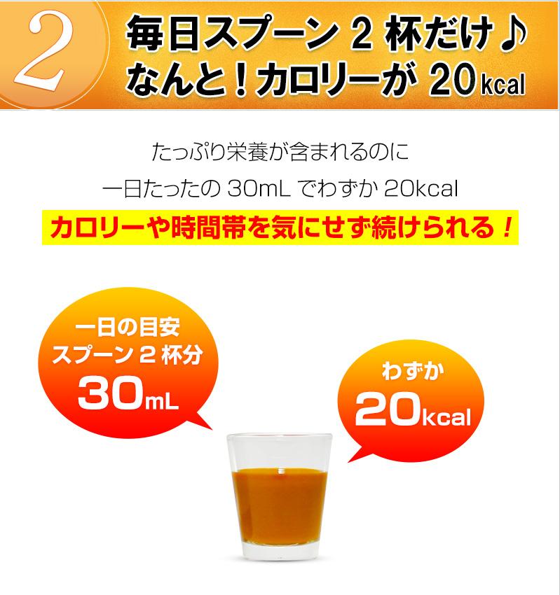 スプーン2杯これなら毎日続けられる。一日分わずか20キロカロリー